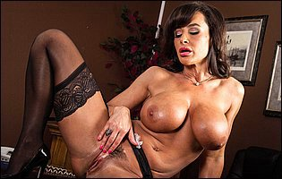 Business woman Lisa Ann stripping and teasing with awesome body in the office