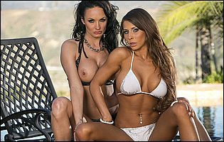 Alektra Blue and Madison Ivy lick and dildofuck each other outdoor