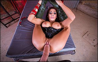 Madison Ivy in black corset takes monster cock in her cunt