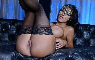 Peta Jensen in sexy mask and black stockings showing off pink twat