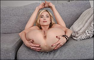 Piper Perri getting naked on couch