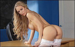 Gorgeous teacher Nicole Aniston stripping and posing in white stockings and black heels