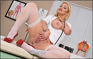 Busty doctor Shyla Stylez strips and touches herself