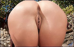 Alicia Silver getting naked and showing off pink twat outdoor