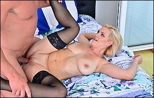 Kirsten Klark in black stockings gets her pussy fucked deep
