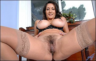 Persia Monir in sexy stockings showing off hairy twat