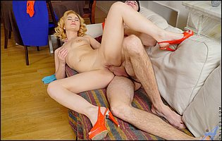 Adelis Shaman in red heels gets her pussy licked and fucked