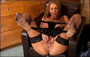 Leigh Darby in fishnet stockings loves teasing