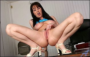 Rayveness stripping and toying her wet pussy in the office