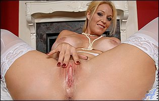 Charlee Chase in white stockings pleasuring her pussy