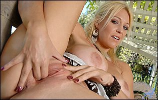 Charlee Chase showing tight body and masturbating outdoor