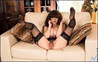 Kate Anne in black stockings loves teasing
