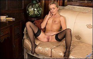 Skye Taylor in sexy black underwear and black stockings teasing