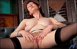 Scarlet Rose in black nylons showing off pink twat