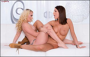 Gorgeous blonde AJ Applegate and sexy worker August Ames having some hot lesbian sex