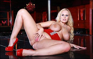 Hot busty dancer Angel Wicky strips off her short red dress