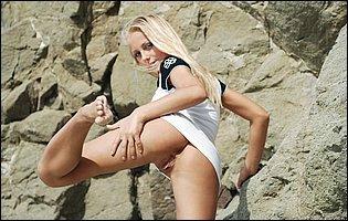 Gorgeous blonde Gerra A strips off her sexy dress outdoor
