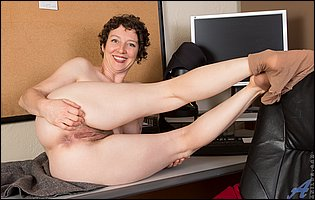 Hot mature secretary Artemisia getting naked in the office