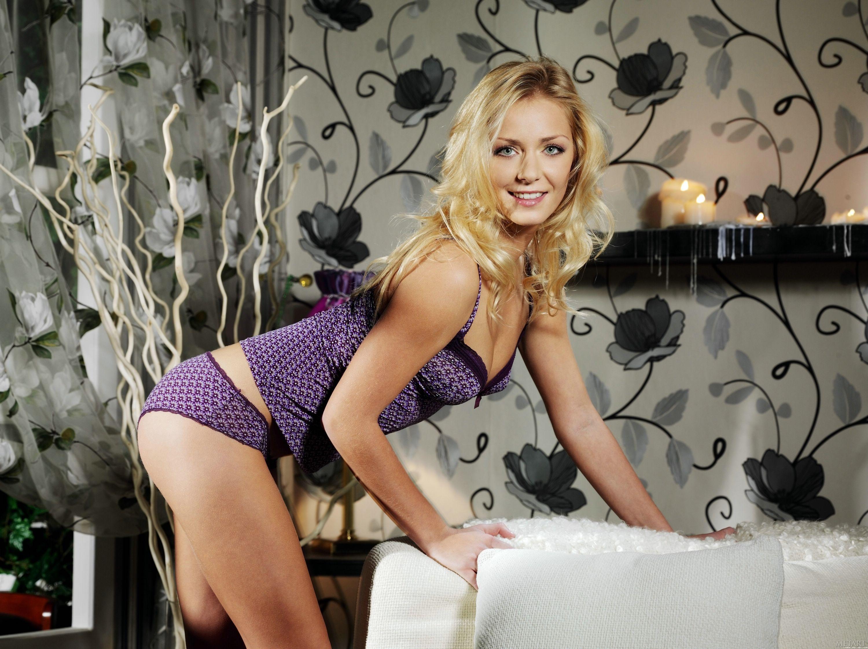 blonde nude lingerie