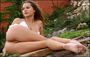 Hot brunette Eva E in sexy white lingerie loves teasing outdoor