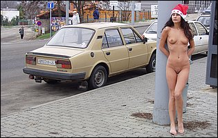 Darina A posing nude in public