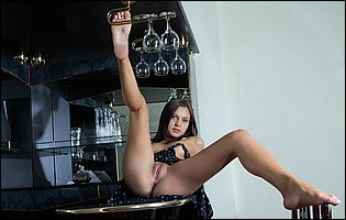 Lovely young brunette Tainia A teasing with tight body