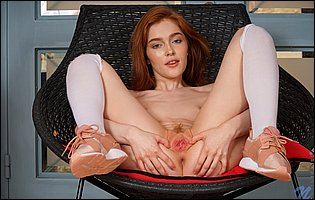Jia Lissa in white knee socks and sneakers showing off her pink twat