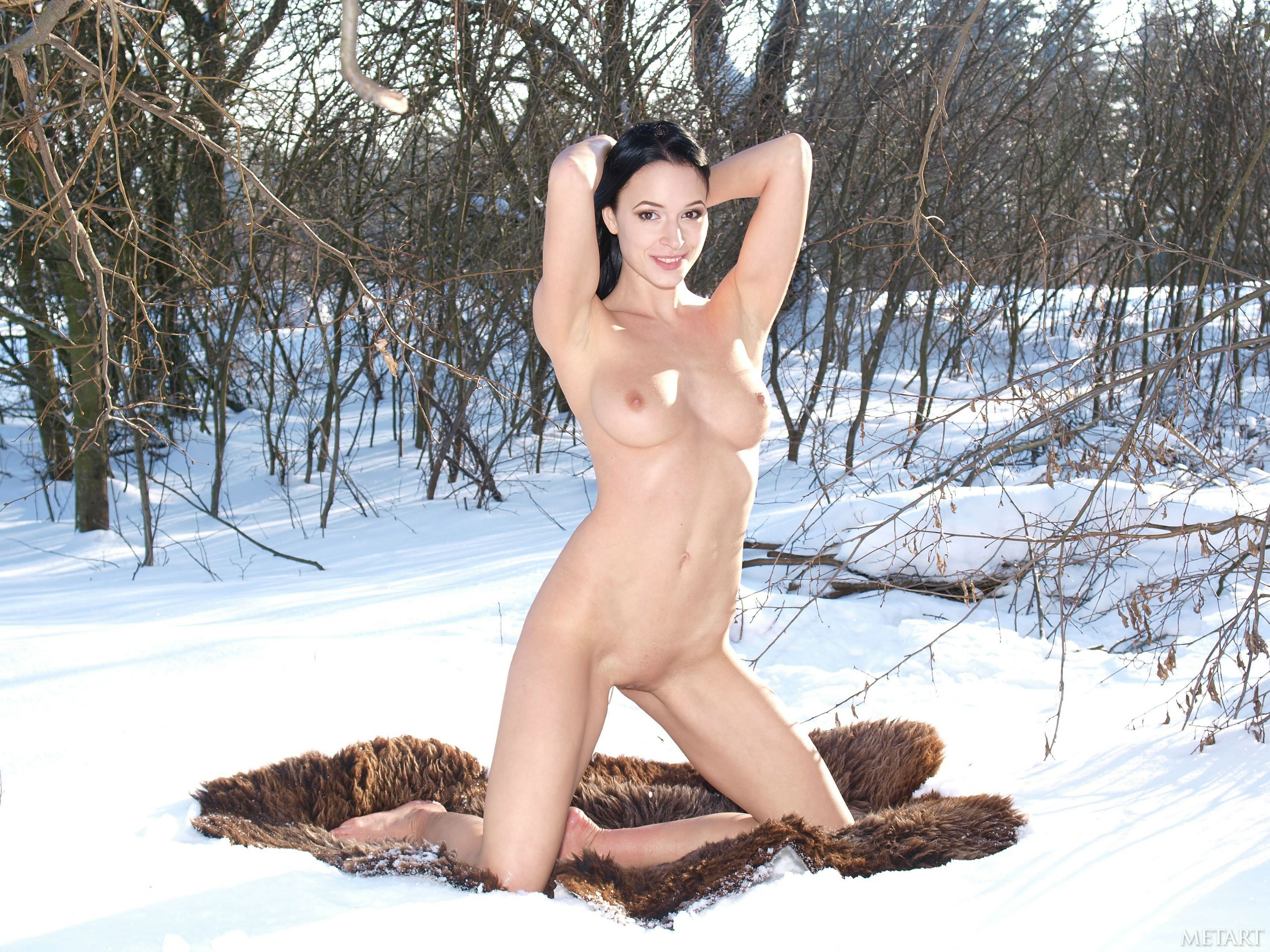 Sofia Naked In The Snow Showing Those Big Boobs And That Hairy Pussy