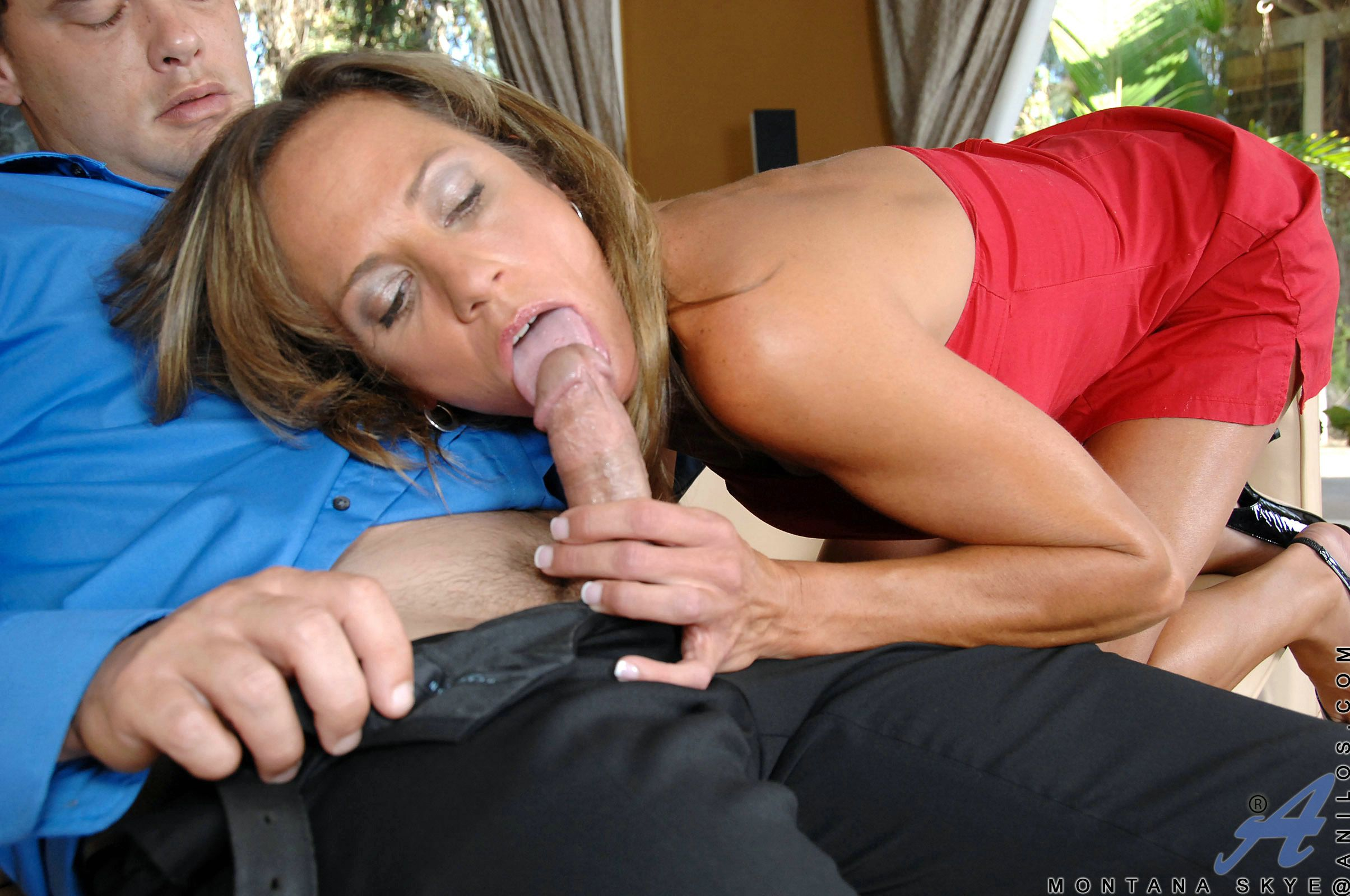 Tanned milf in a red dress fucked and cream