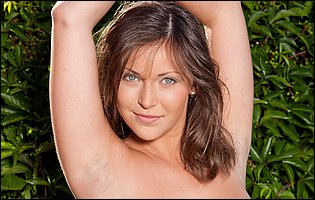 Gorgeous brunette Sophia E teasing with hot nude body outdoor