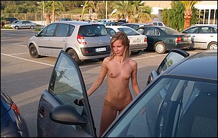 Cute blonde Gwyneth A posing naked in public