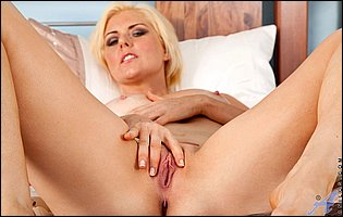 Blonde MILF Rebecca showing and spreading her tight pussy