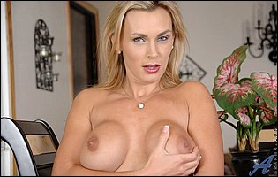 Tanya Tate strips off her sexy dress and pantyhose