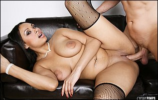 Bethany Benz in fishnet stockings takes big cock in her tight pussy