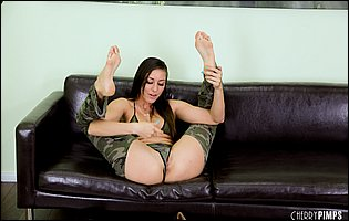 Gorgeous brunette Rilynn Rae spreading legs and dildoing her twat