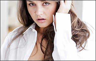 Pretty brunette Allie Haze in white shirt loves teasing