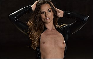 Tori Black strips her sexy black leather outfit and presents tight body