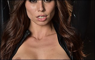 Adria Fox strips her black leather outfit and teasing with hot body