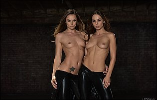Hot brunettes Aidra Fox and Tori Black stripping and teasing with tight bodies