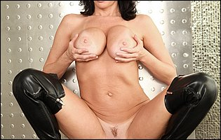 Veronica Avluv posing in sexy underwear and black leather high boots