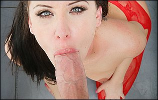 Katie St Ives in sexy red stockings sucking and fucking a big hard cock