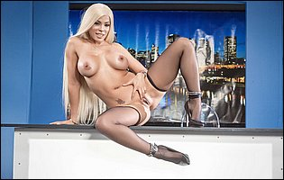 Hot latina blonde Luna Star stripping and teasing in the studio