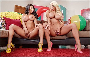 Busty ladies August Taylor and Nicolette Shea exposing hot bodies