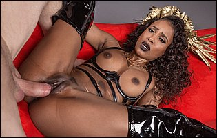 Demi Sutra in high black latex boots gets her pussy fucked deep