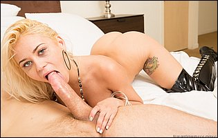 Marsha May in high black boots spreads legs to take a big cock