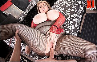 Kimmie Kaboom in fishnet getting a hard fuck