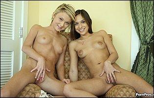 Dakota Skye and Sara Luvv posing nude in front of the camera