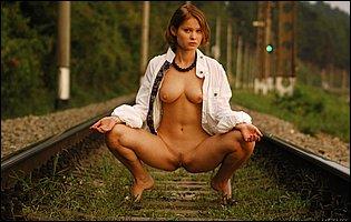 Young cutie Silvia B posing nude outdoor