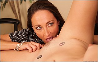 Michelle Lay and Pepper Kester lick each other pussy in the office