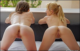 Young cuties Goldie and Shiloh Sharada posing and having lesbian fun